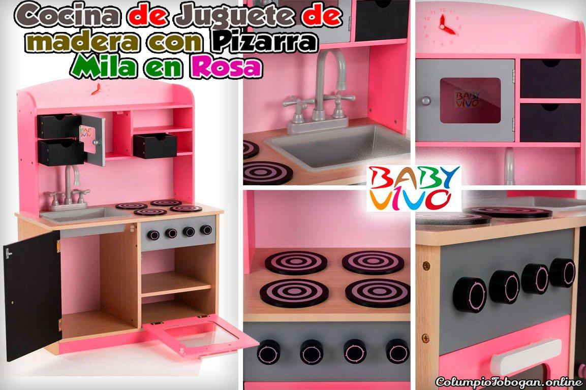 Cocina de juguete de madera con Pizarra - Mila en Rosa de BabyVivo