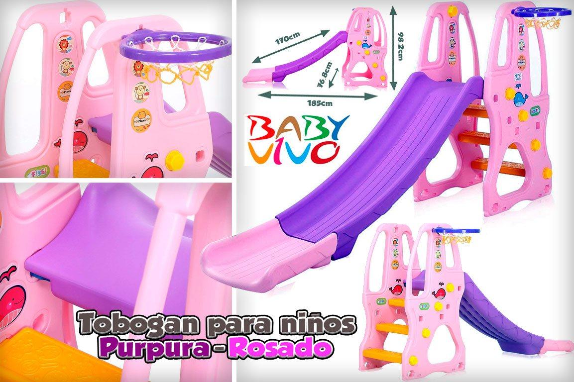 BabyVivo tobogán para niños en Púrpura - Rosado