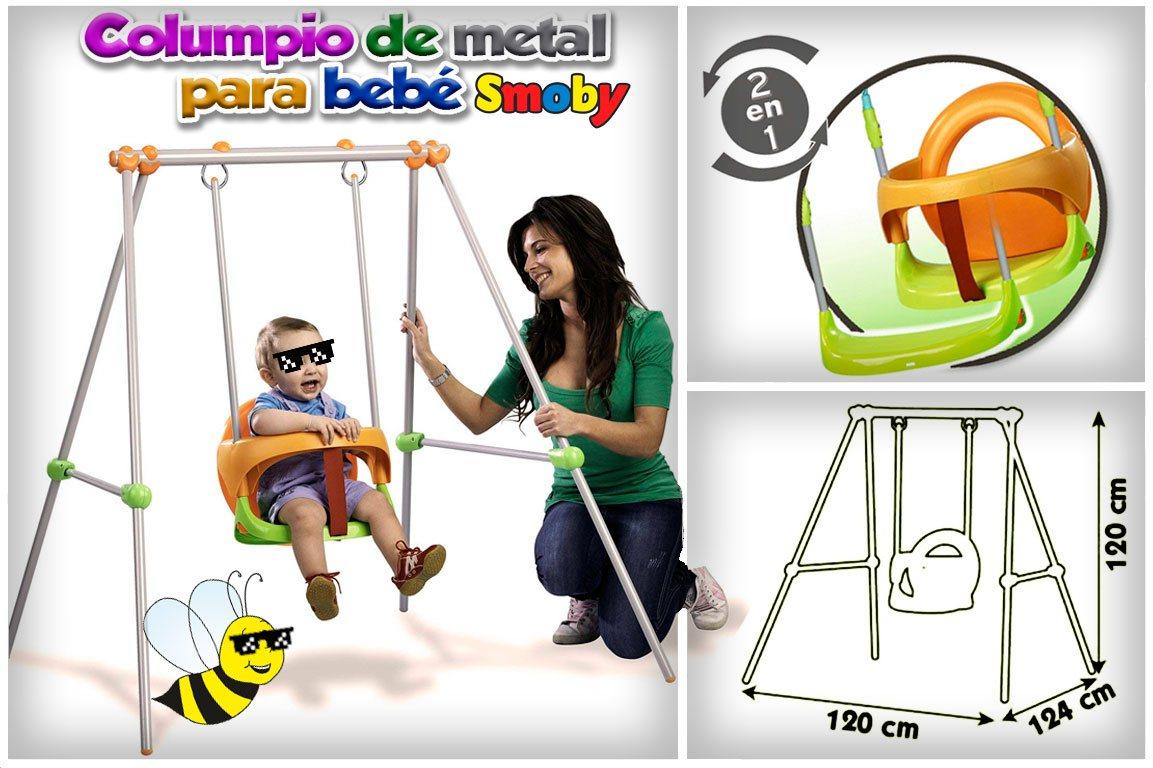 El columpio de metal pequeño para bebes de Smoby
